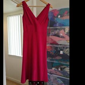 100% SILK J crew red dress,  Like new
